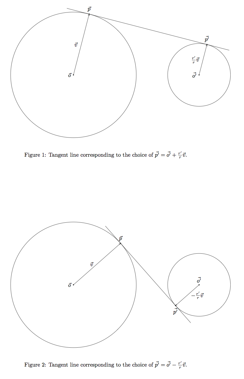External and internal tangents to two circles and corresponding vectors.